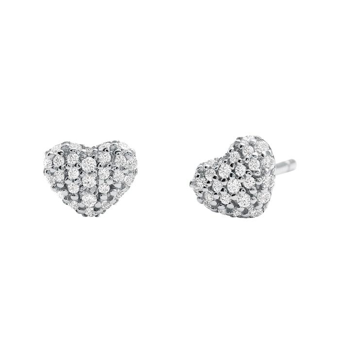 Michael Kors Pave Sterling Silver Heart Stud Earrings