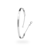Goldsmiths Sterling Silver Bangle with Safety chain