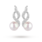 Goldsmiths Silver Fresh Water Pearl and Cubic Zirconia Swoop Drop Earrings