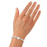 Goldsmiths Rhodium Plated Silver and 10mm Fresh Water Pearl Mesh Bracelet