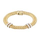 FOPE 18 Yellow and White Gold Maori Two Row 0.18ct Diamond Bracelet