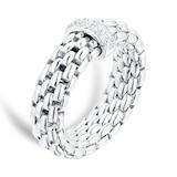 FOPE 18ct White Gold Vendome Flex'It 0.10ct Diamond Ring - Ring Size Medium