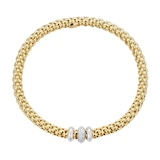 FOPE 18ct Yellow Gold Solo Flex'It 0.17ct Diamond Bracelet