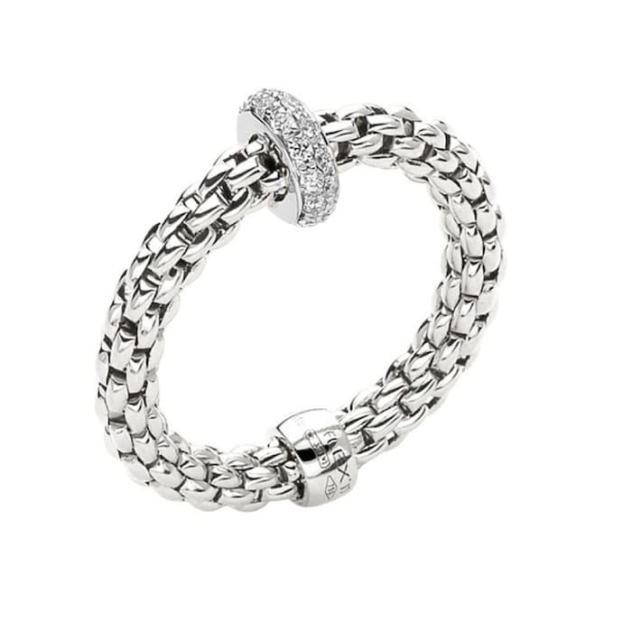 Fope 18ct White Gold Prima 0.18ct Diamond Ring - Ring Size M