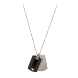 Emporio Armani Gents Steel and Onyx Dog Tag Necklace