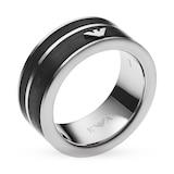Emporio Armani Men's Black Ring. Ring Size U