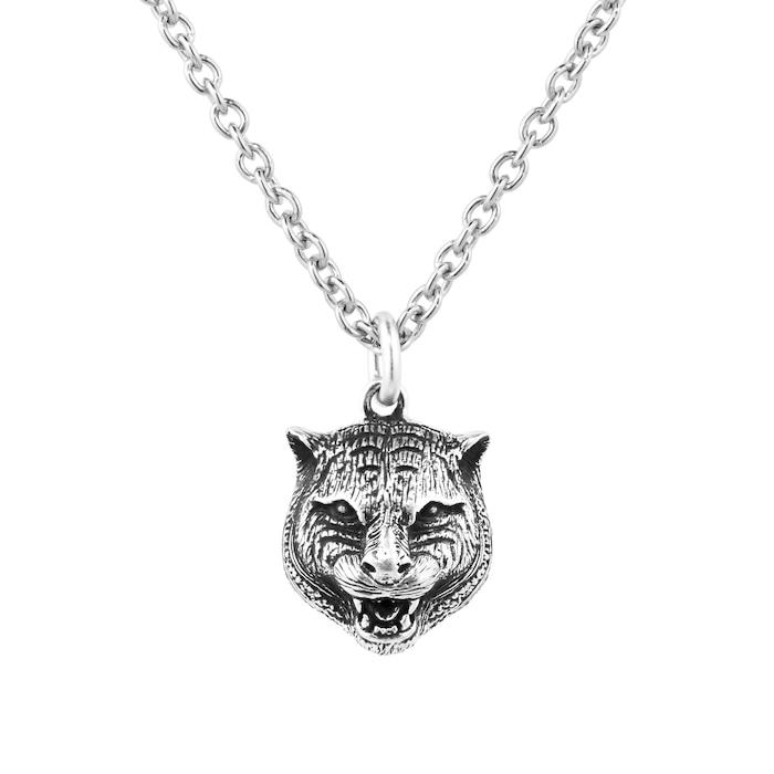 Gucci Anger Forest Feline Head Dark Finish Silver Necklace