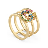 Gucci Running G 18ct Yellow Gold Multicolour Ring - Ring Size N
