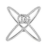 Gucci 18k White Gold Running G Diamond Cross Ring - Ring Size 7.25