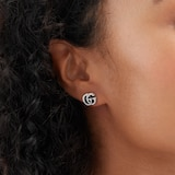 Gucci Silver GG Marmont Aged Stud Earrings