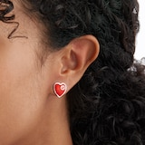 Gucci Exclusive Gucci Heart 925 Sterling Silver and Red Enamel Earrings