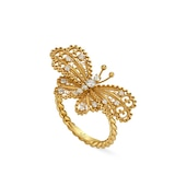 Gucci 18k Yellow Gold Butterfly 0.26cttw Diamond Ring - Ring Size 6.25