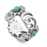 Gucci Silver GG Marmont Turquoise Ring Size 5.75