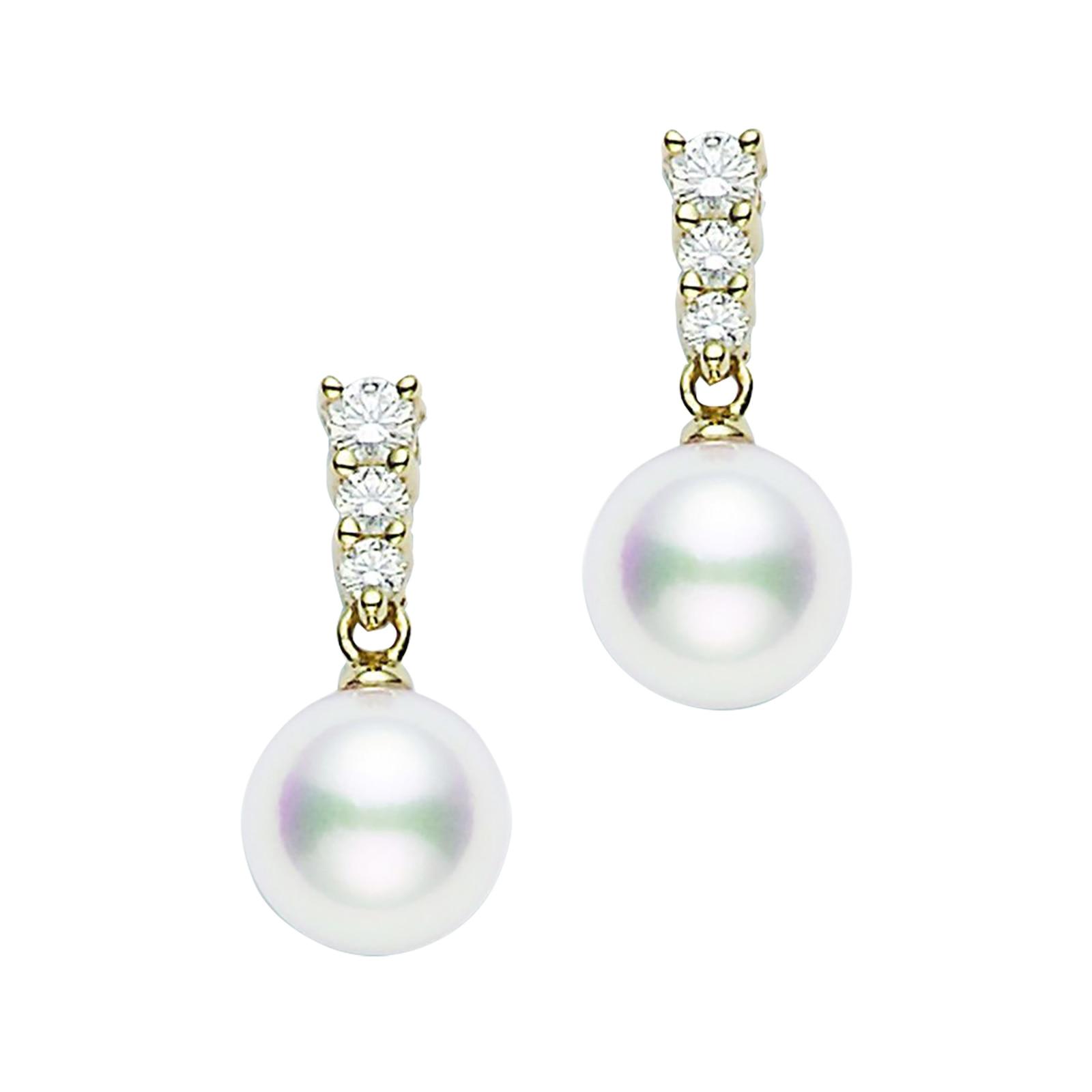 Mikimoto 8mm Akoya Cultured Pearl and Diamond Drop Earrings