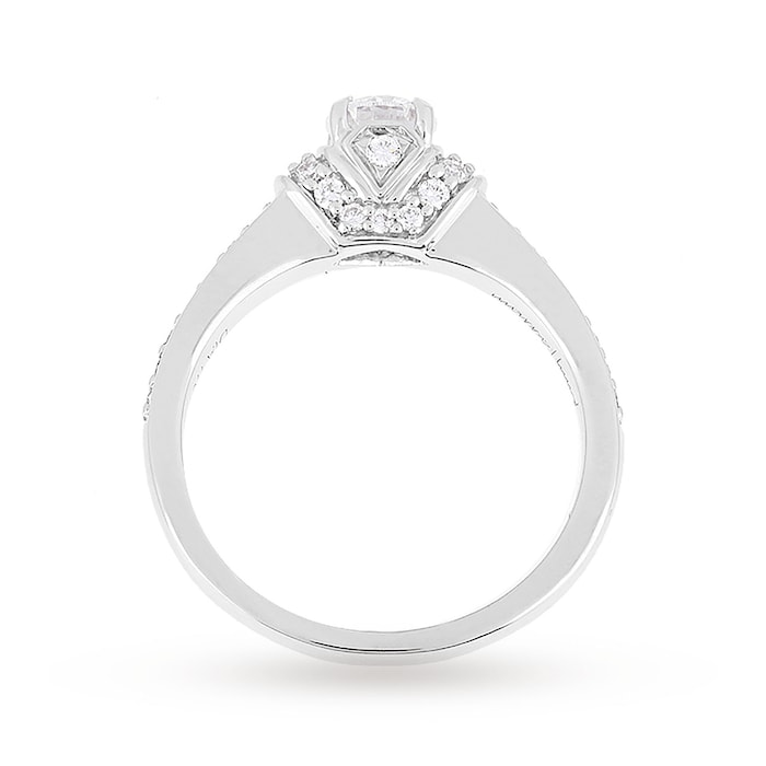 Jenny Packham Platinum Oval Cut 0.45cttw Diamond Art Deco Style Ring