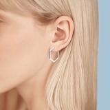 Birks Bee Chic Medium Silver Hexagon Hoop Earrings