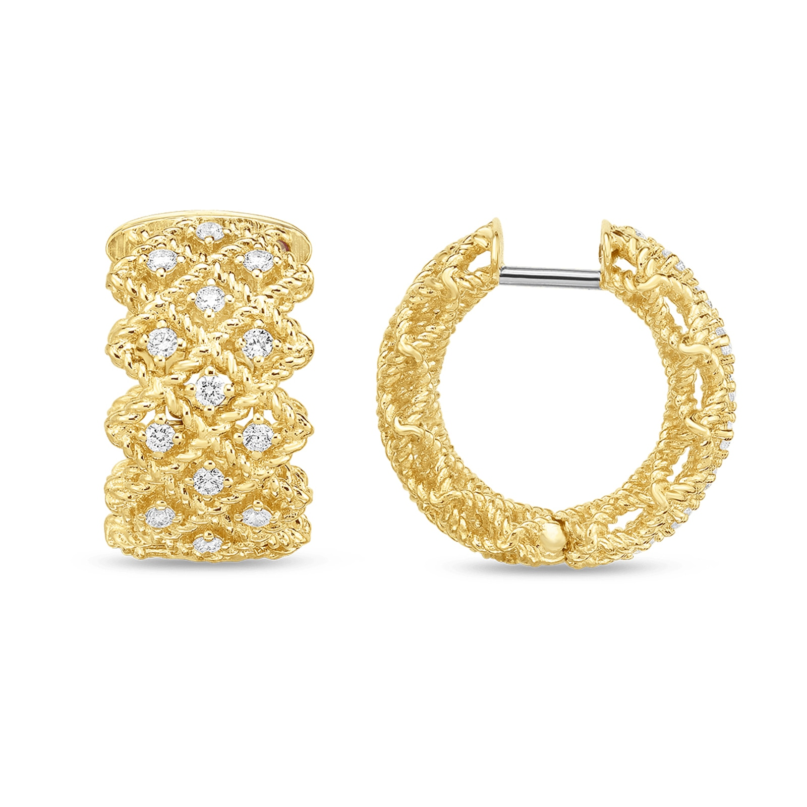 Roberto Coin Roman Barocco Three Row Diamond Hoop Earrings