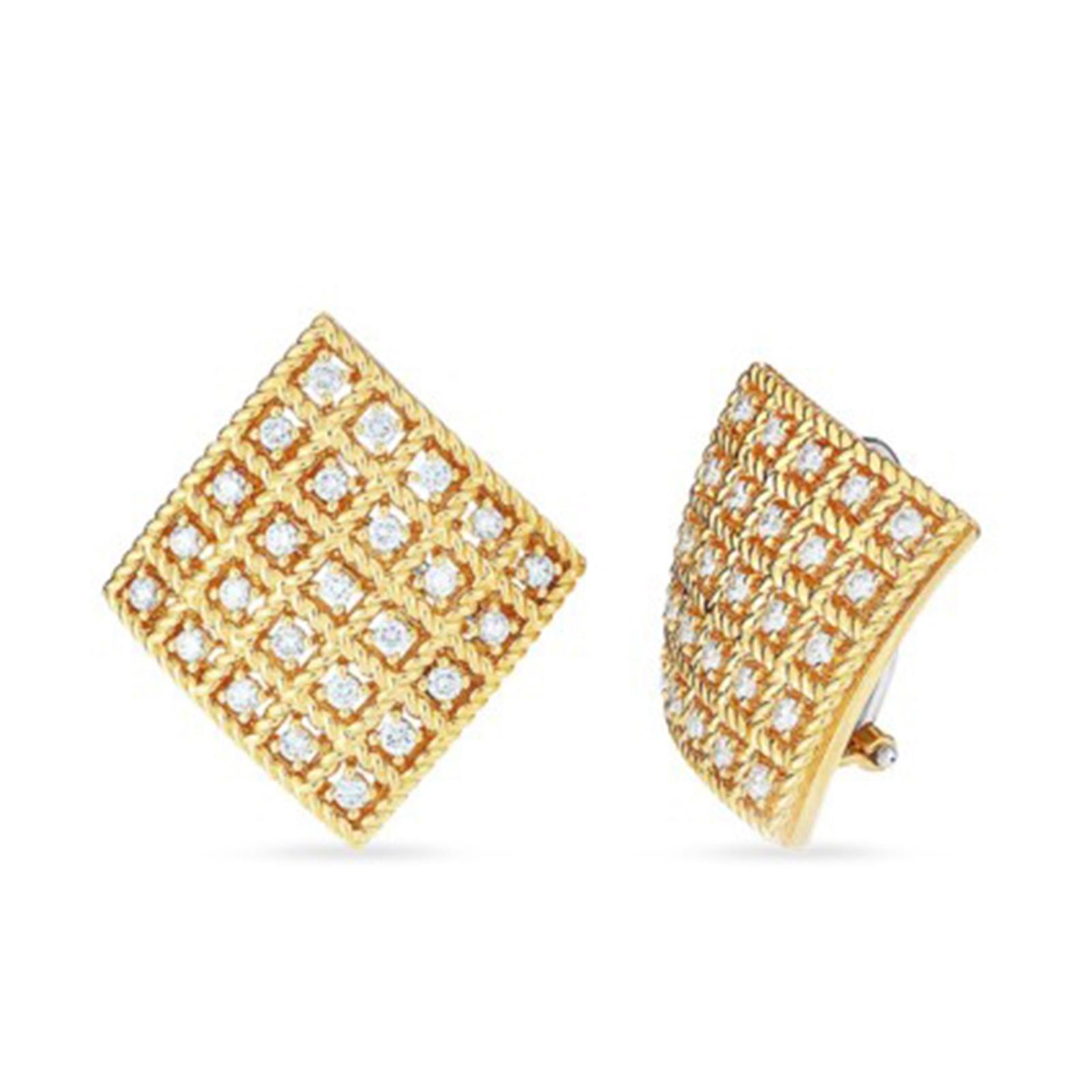 Roberto Coin Roberto Coin Byzantine Barocco Square Diamond Earrings