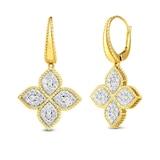 Princess Flower Diamond Drop Earrings