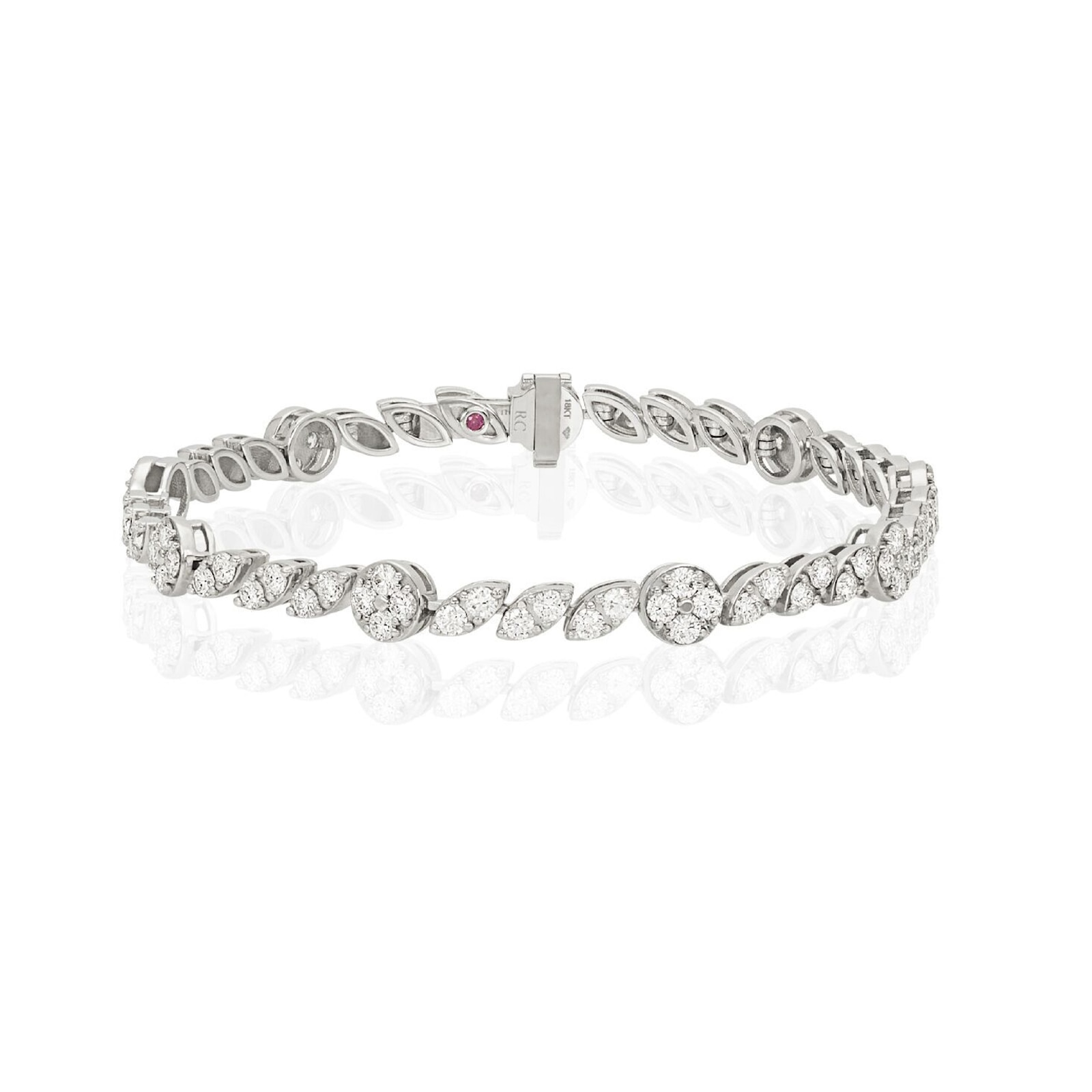 Roberto Coin The Marquesa Collection 18k White Gold 3.70cttw Diamond Swirl Bracelet