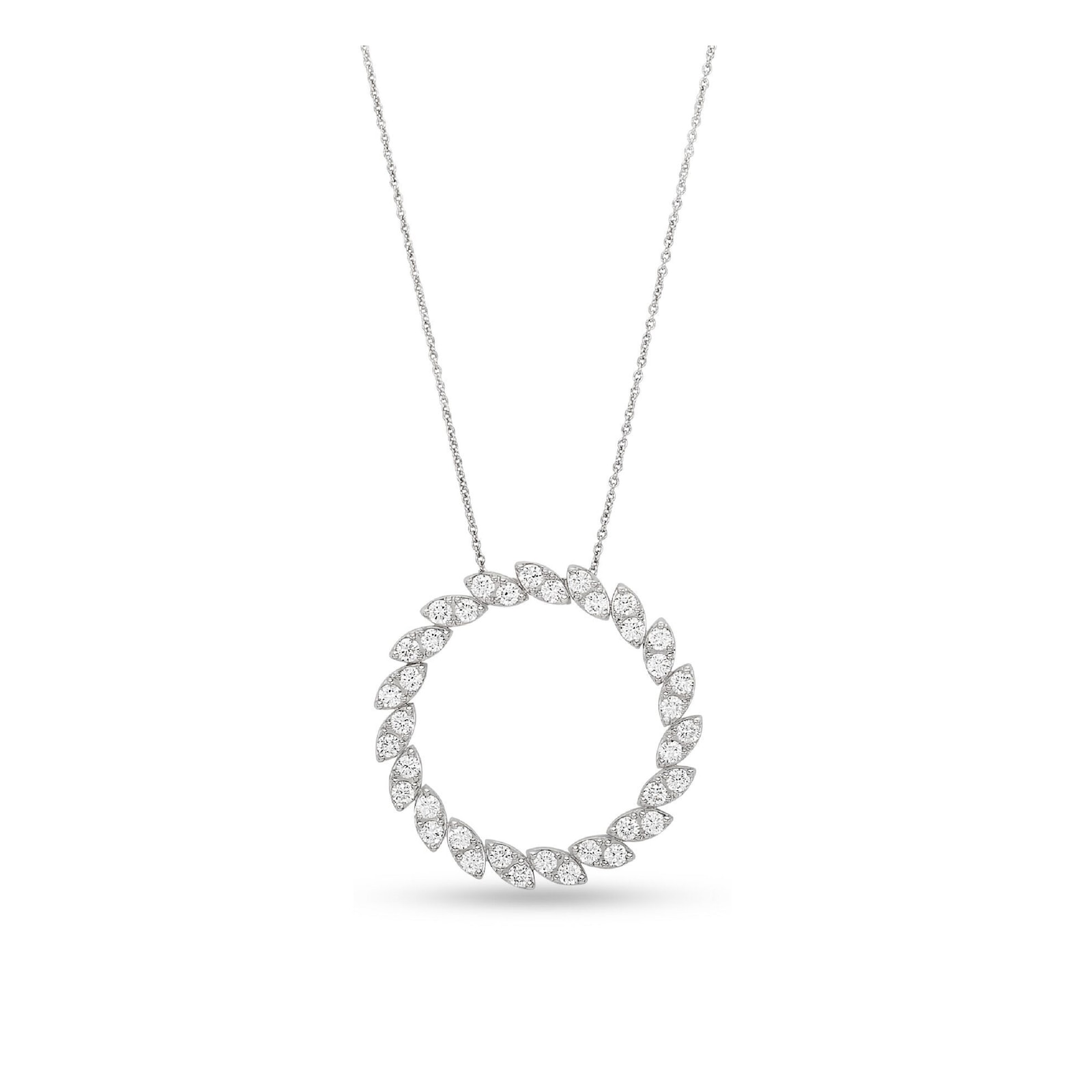 Roberto Coin The Marquesa Collection 18k White Gold 1.58cttw Diamond Swirl Necklace