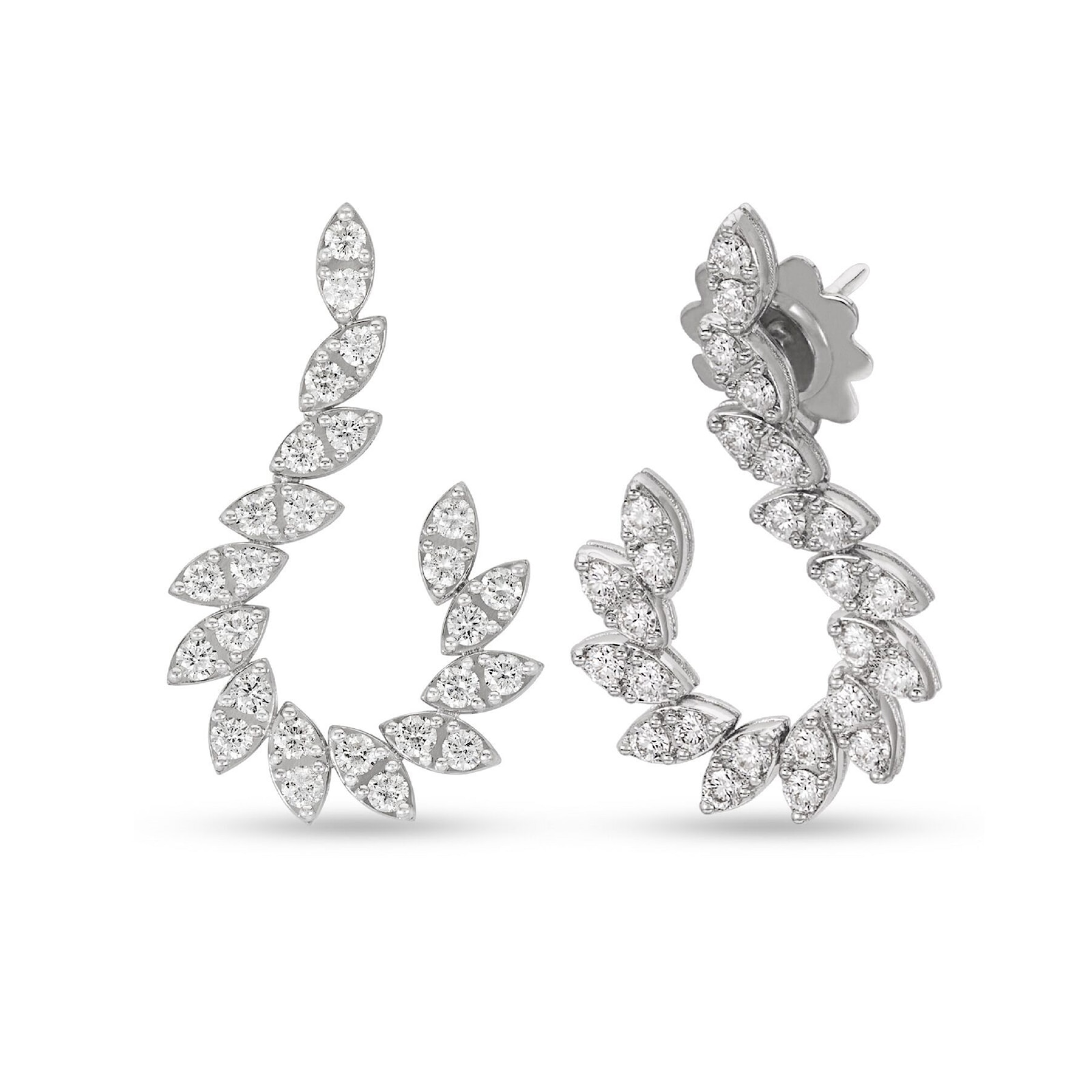 Roberto Coin The Marquesa Collection 18k White Gold 1.55cttw Diamond Earrings