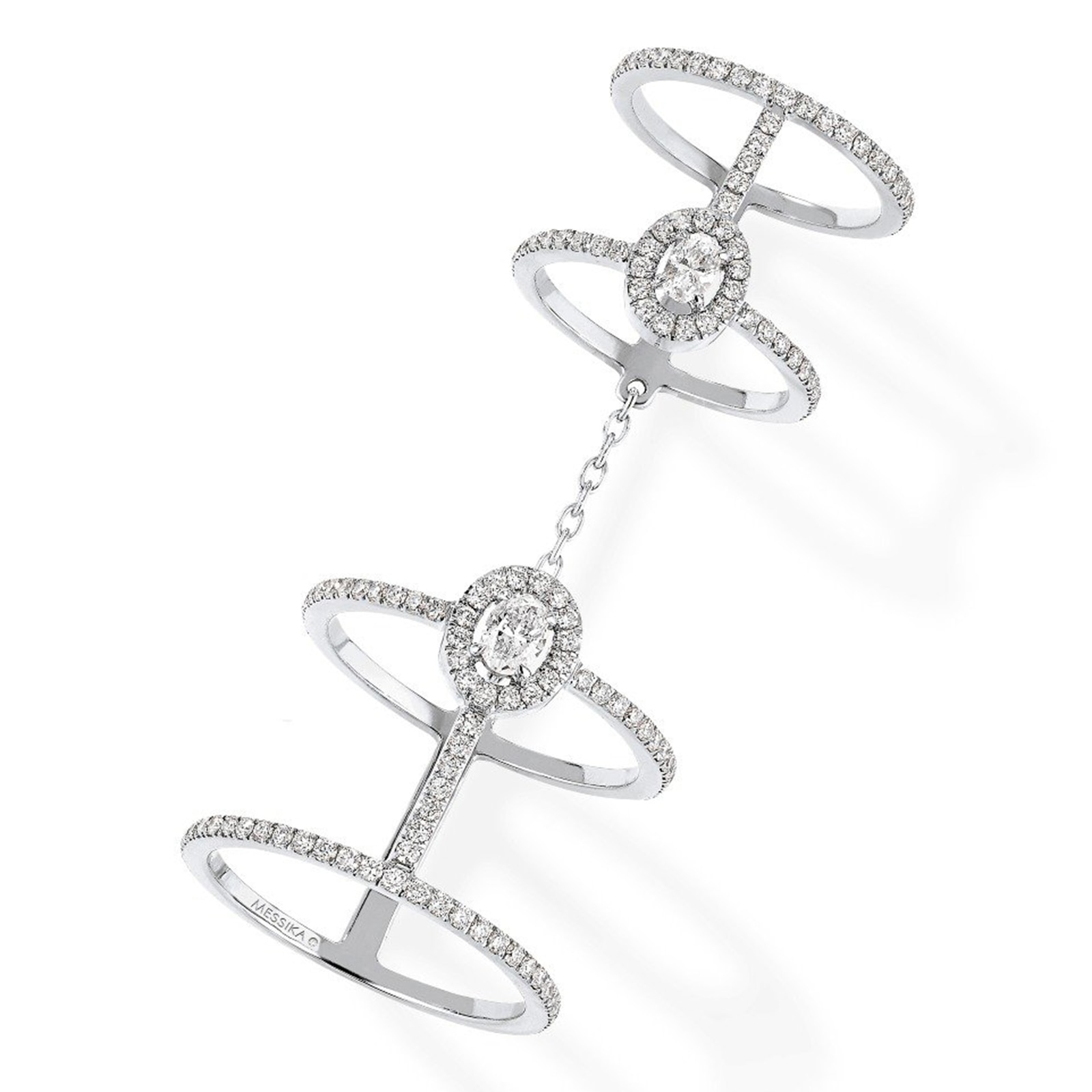 Messika Glam'Azone Double Diamond Pave Ring - Ring Size 6.5