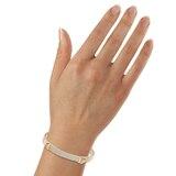 SWAROVSKI Distinct Rose Gold Plated Small Crystal Pave Bangle 5152481 Medium