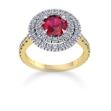 Mappin & Webb Alba Double Halo 18ct Yellow Gold And 6mm Ruby Ring