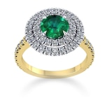 Mappin & Webb Alba Double Halo 18ct Yellow Gold And 5mm Emerald Ring