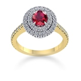 Mappin & Webb Alba Double Halo 18ct Yellow Gold And 4mm Ruby Ring