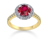 Mappin & Webb Amelia Halo 18ct Yellow Gold And 6mm Ruby Ring