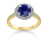 Mappin & Webb Amelia Halo 18ct Yellow Gold And 6mm Sapphire Ring