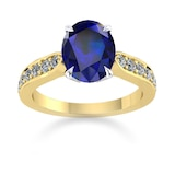 Mappin & Webb Boscobel 18ct Yellow Gold And 9x7mm Sapphire Ring