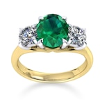 Mappin & Webb Ena Harkness 18ct Yellow Gold And Three Stone 9x7mm Emerald Ring