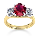 Mappin & Webb Ena Harkness 18ct Yellow Gold And Three Stone 9x7mm Ruby Ring