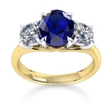 Mappin & Webb Ena Harkness 18ct Yellow Gold And Three Stone 9x7mm Sapphire Ring