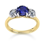 Mappin & Webb Ena Harkness 18ct Yellow Gold And Three Stone 6mm Sapphire Ring