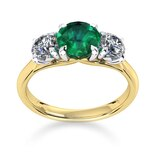 Mappin & Webb Ena Harkness 18ct Yellow Gold And Three Stone 4mm Emerald Ring