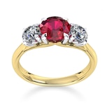 Mappin & Webb Ena Harkness 18ct Yellow Gold And Three Stone 4mm Ruby Ring
