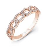 Uneek 14k Rose Gold La Mirada Stackable 0.25cttw Diamond Band - Ring Size 6.5