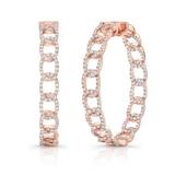"""Uneek 14k Rose Gold """"La Mirada"""" Inside-Out 1.50cttw Diamond 35mm Hoop Earrings"""