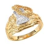Hallmark 9ct Yellow Gold Cubic Zirconia Saddle Ring