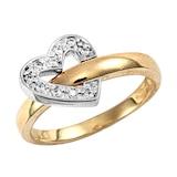 Hallmark 9ct Yellow Gold Cubic Zirconia Flip Over Heart Ring