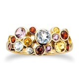 By Request 9ct Yellow Gold Multi Stone Buddle Ring - Ring Size B.5