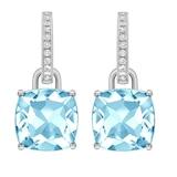 Kiki McDonough Kiki Classics 18ct White Gold, Cushion Cut Blue Topaz and Diamond Detachable Hoop Earrings