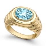 Kiki McDonough Kiki Classics 18ct Yellow Gold and Blue Topaz Plain Ripple Ring