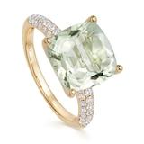 Kiki McDonough Kiki Cushion 18ct Yellow Gold, Tapered Diamond Shoulders & Green Amethyst Ring