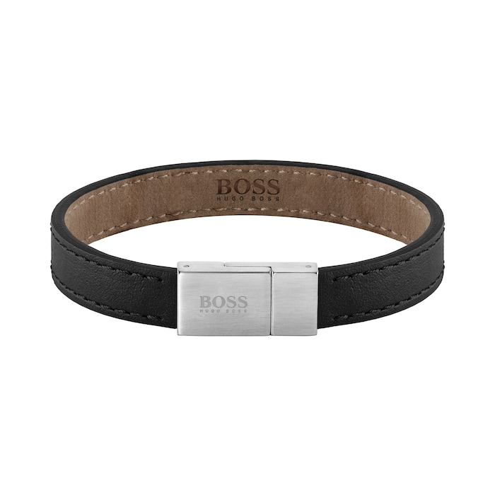BOSS Leather Essentials Black Stainless Steel Bracelet