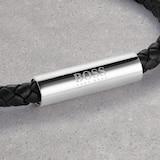 BOSS Braided Leather Black Steel Bracelet